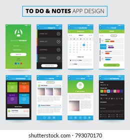 Mobile apps design for notes and projects on smartphone screens with icons and settings isolated  illustration