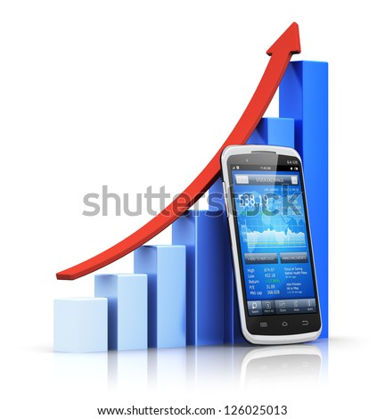 Mobile banking, e-business and financial growth, development and success concept: smartphone with stock exchange market application and blue growing bar chart with red arrow isolated on white