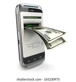 Mobile banking. Phone payment. Cellphone and dollar. 3d