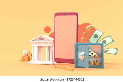 Mobile banking surrounded by safe and money on the orange background.-3d rendering.