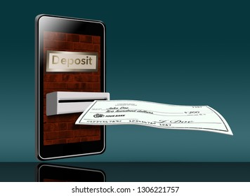 A mobile cell phone is being used to deposit a check into the bank in this illustration. A phone can be used like a night deposit box. This is an illustration