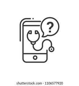 Mobile consultant - line design single isolated icon on white background. High quality black pictogram, emblem. Image of gadget, smartphone and phonendoscope with question mark. Digital medicine theme
