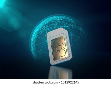 Mobile data protected with blue force field like shield around sim card. Data transfer security concept. 3D rendering