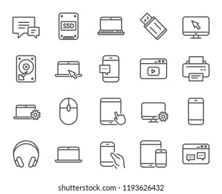 Mobile Devices line icons. Set of Laptop, Tablet PC and Smartphone signs. HDD, SSD and Flash drives. Headphones, Printer and Mouse symbols. Chat speech bubbles. Quality design element. Classic style