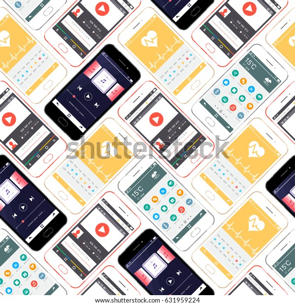 Mobile Devices, Smartphone Seamless Pattern Background. Mobile interface wallpaper design. Health, multimedia, player, icons, weather web interfaces. Raster version.