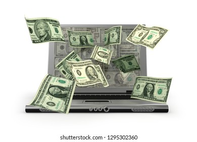 Mobile e-commerce with us dollar notes - 3d illustration
