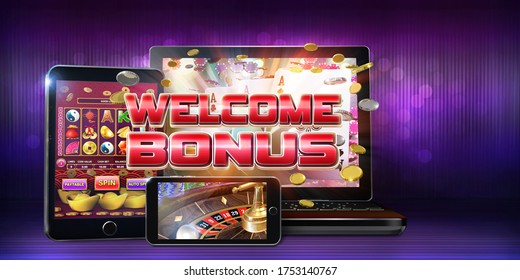 Mobile gambling advertising banner for online casinos offering a wide range of welcome bonuses for new casino players. 3D illustration