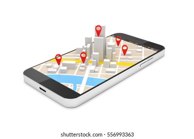Mobile GPS navigation concept, Smartphone with city map application and marker pin pointer. 3D illustration