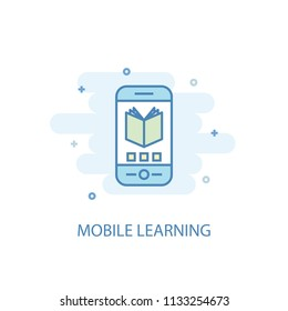 Mobile Learning concept trendy icon. Simple line, colored illustration. Mobile Learning concept symbol flat design from eLearning  set. Can be used for UI/UX