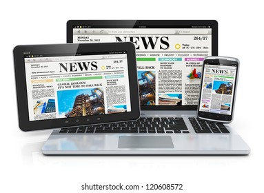 Mobile media devices concept: office laptop, tablet PC computer and black glossy touchscreen smartphone with internet web business news on screen isolated on white background with reflection effect