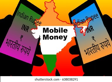 Mobile Money India -  Two smartphones with the symbols of the Indian national currency are in the foreground. Between:  A map of India in national colors. Inscription: Mobile Money