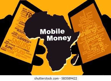 """Mobile Money -   Two smartphones show the currencies of Africa. Between:  A map of the continent in black with the inscription """"Mobile Money"""". Background: yellow."""