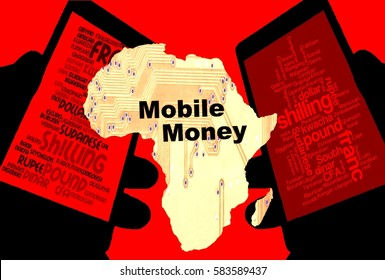 """Mobile Money -   Two smartphones show the currencies of Africa. Between:  A map of the continent in yellow with the inscription """"Mobile Money"""". Background: red."""