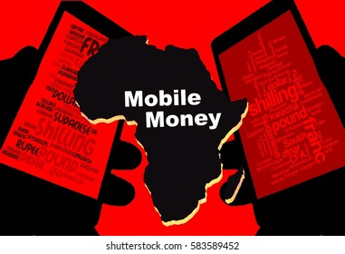 """Mobile Money -   Two smartphones show the currencies of Africa. Between:  A map of the continent in black with the inscription """"Mobile Money"""". Background: red."""