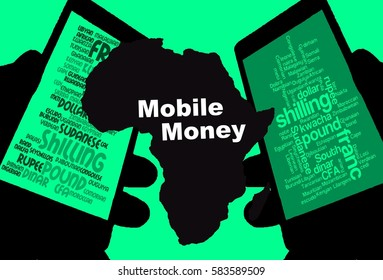 """Mobile Money -  Two smartphones show the currencies of Africa. Between:  A map of the continent in black with the inscription """"Mobile Money"""". Background:Green."""