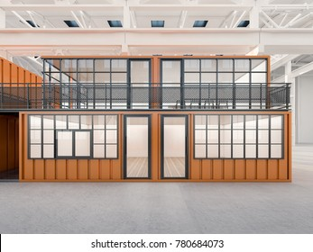 Mobile office made from shipping containers , 3d rendering