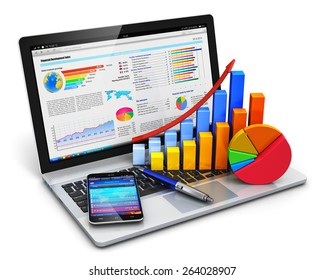 Mobile office, stock exchange market, accounting, financial development and banking business concept: laptop with stock market application, bar chart, pie diagram, pen and smartphone isolated on white