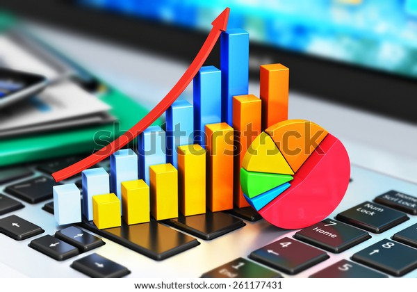Mobile office, stock exchange market trading, statistics accounting, financial development and banking business concept: bar chart and pie diagram on laptop keyboard and other stationery supplies
