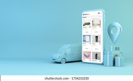 simulación de concepto de tienda online móvil en 3d