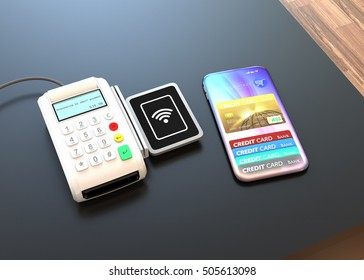 Mobile payment concept. 3D rendering image.