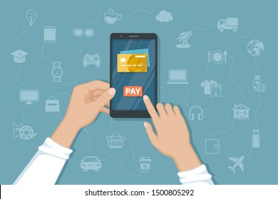 Mobile Payment for goods, services, shopping using smartphone. Online banking, pay with phone. Credit card on screen, button pay, smartphone in man hands. Raster version