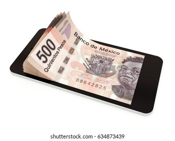 Mobile payment, money transfer with smart phone, Mexico peso. 3d rendered illustration.