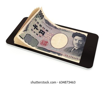 Mobile payment, money transfer with smart phone, Japanese yen. 3d rendered illustration.