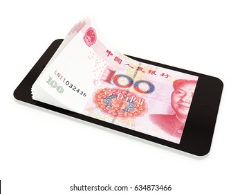 Mobile payment, money transfer with smart phone, Chinese yuan. 3d rendered illustration.