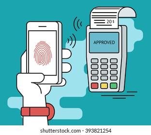 Mobile payment via smartphone using fingerprint identification. Flat line contour illustration of payment via smartphone app