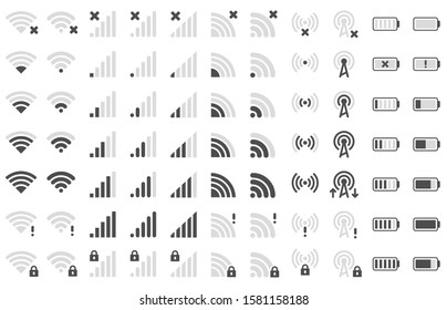 Mobile phone bar icons. Smartphone battery charge level, wifi signal strength icon and network connection levels pictogram. Device power indicating or batteries bar. Isolated symbols  set