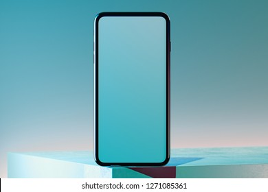 Mobile phone with blank screen on multicoloured background. 3d rendering.