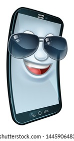 A mobile phone cartoon character mascot wearing cool shades or sunglasses