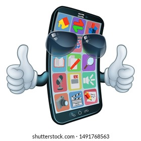 A mobile phone cartoon character mascot wearing cool shades or sunglasses giving a double thumbs up.