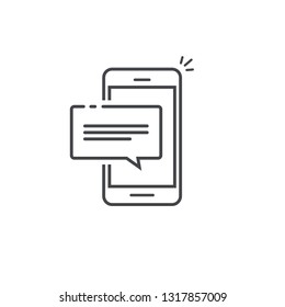 Mobile phone chat message notification icon isolated line outline art, smartphone bubble speech pictogram, concept of online talking, cellphone alert text message, conversation, dialog symbol image