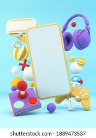 El teléfono móvil se burla rodeado de equipos de juegos 3d renderizado