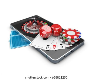 Mobile phone with Roulette, Play card, Dice and Chips, Online casino concept. 3d Illustration