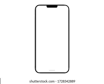 Mobile phone with round edges in Black color, with blank white screen for Infographic Global Business web site design app. Concept technology Smartphone - include clipping pat.