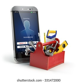 Mobile phone service concept. Online support. Smartphone  with toolbox and tools on white isolated background. 3d