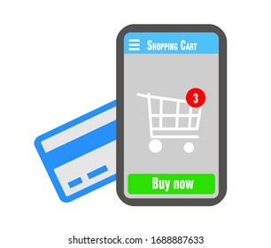 Mobile phone with shopping cart with items, red illustration, online ordering notification concept, ecommerce, credit card