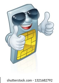 A mobile phone sim card cartoon character mascot wearing cool shades or sunglasses giving a double thumbs up.