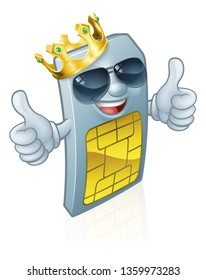 A mobile phone sim card cartoon character mascot wearing a gold king crown and cool shades or sunglasses giving a double thumbs up.