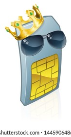 A mobile phone sim card cartoon character mascot wearing a gold king crown and cool shades or sunglasses