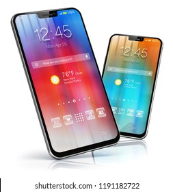 Mobile phone wireless communication technology and mobility business office concept: 3D render of touchscreen smartphone with colorful application interface with color icons and buttons isolated