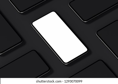 Mobile phones with blank screens on black background. 3d rendering.