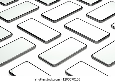Mobile phones with blank screens on white background. 3d rendering.