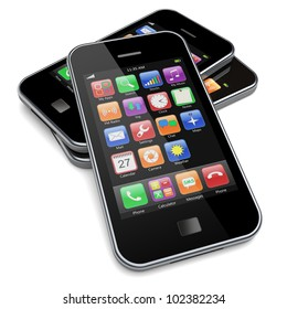 Mobile phones with touchscreen and colorful apps . 3d image