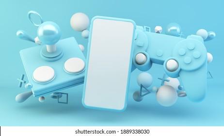 Pantalla móvil rodeada de elementos de juegos azules 3d maqueta de reproducción