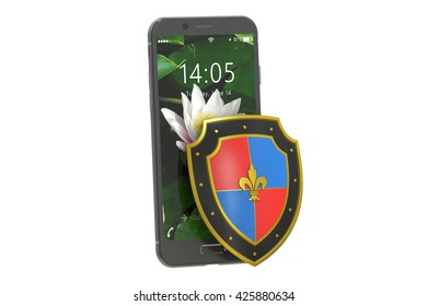 Mobile security and antivirus protection concept, 3D rendering