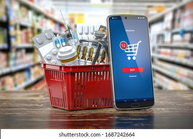 Mobile service or app for purchasing  medicines in online pharmacy drugstore. Smartphone and shopping basket full of medicines. 3d illustration
