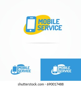 Mobile service logo set with silhouette phone on yellow ellipse can used for mobile shop, smartphone store and repair. Perfect for your business design.
